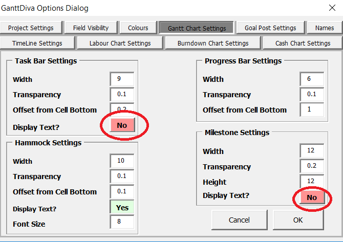 Option Dialog - Display Text